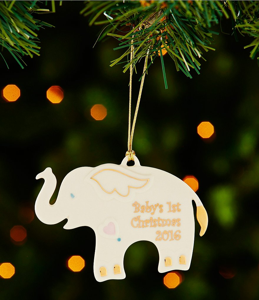 Lenox 2016 Elephant Baby´s First Christmas Porcelain Ornament