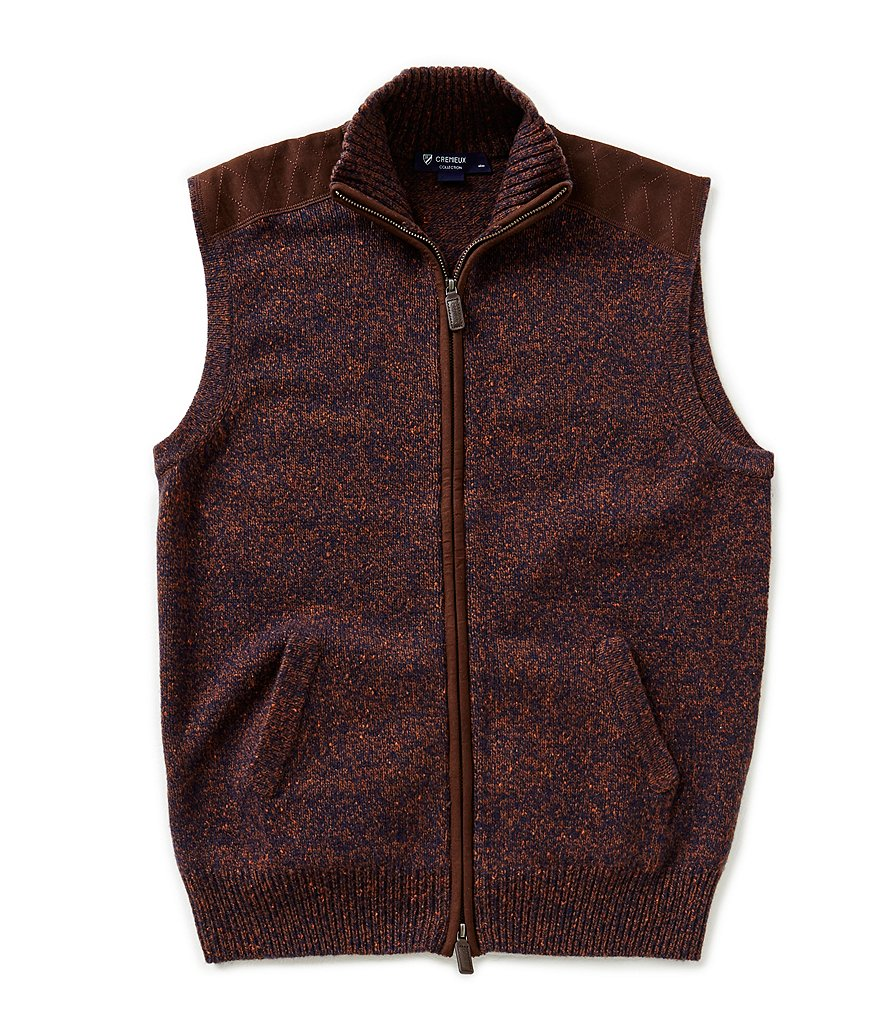 Cremieux Highland Peaks Collection Full-Zip Tweed Sweater Vest