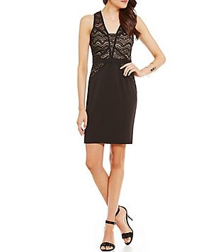 Sequin Hearts Sleeveless Chevron Lace Sheath Dress