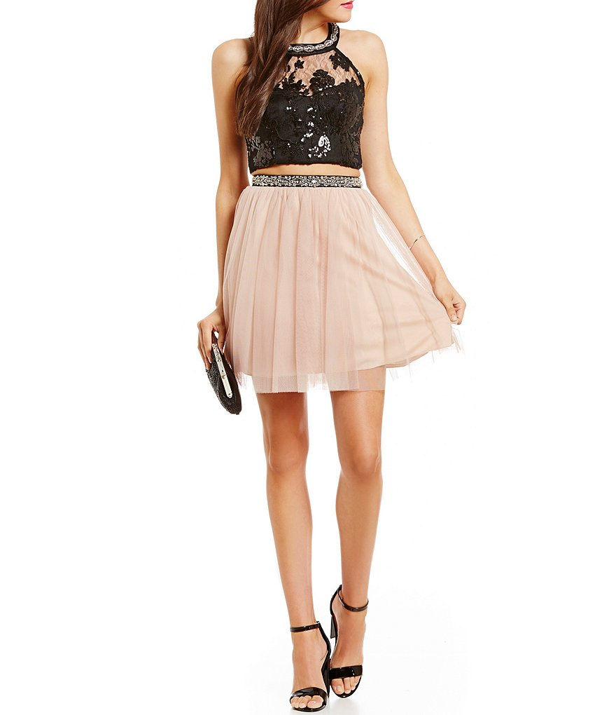 Sequin Hearts High-Neckline Sequin Lace Bodice Two-Piece Dress