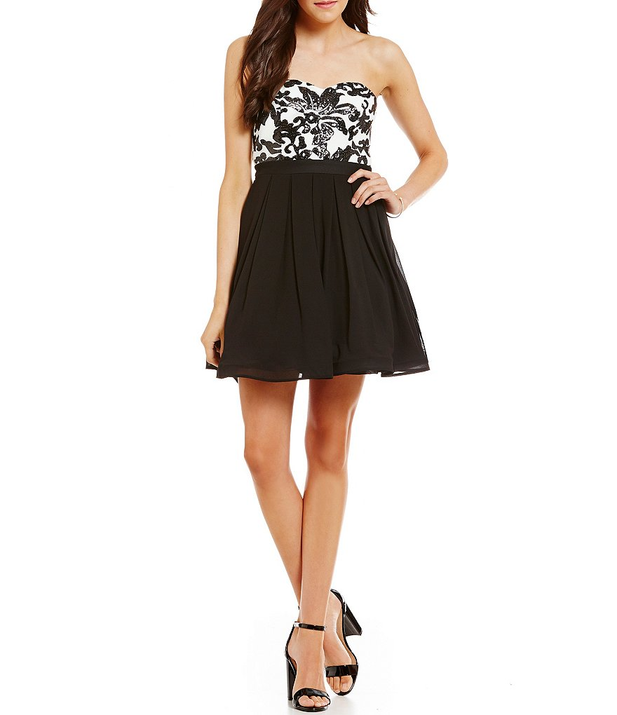 Sequin Hearts Sequin Scroll Bodice Fit-and-Flare Party Dress