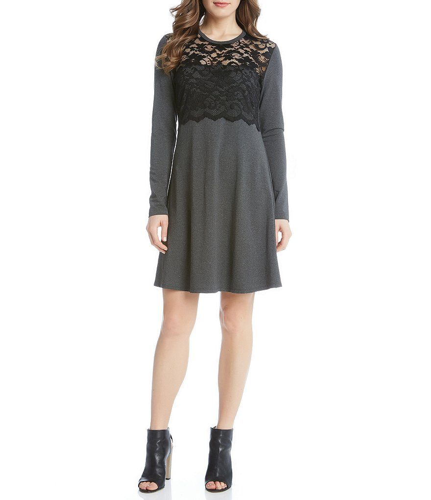 Karen Kane Long Sleeve Scallop Lace Overlay Dress