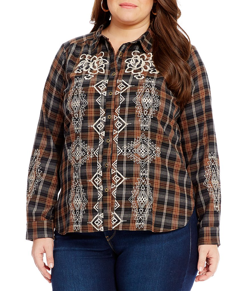 Calessa Plus Embroidered Plaid Blouse