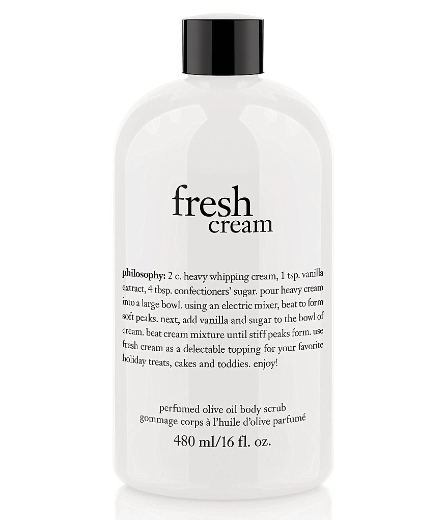 philosophy fresh cream perfumed olive oil body scrub