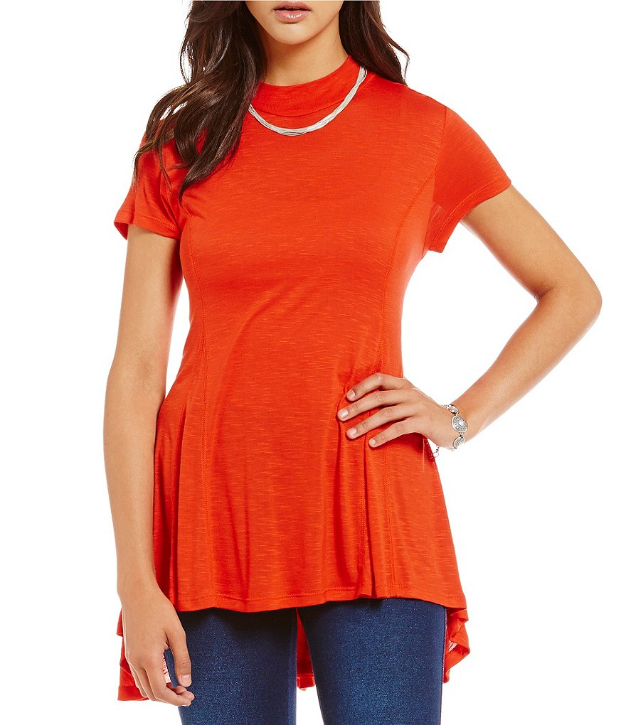 Westbound Petites Short Sleeve Mini Mock Tunic
