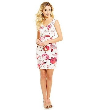 Adrianna Papell Petite Stretch Cotton Floral Sheath Dress
