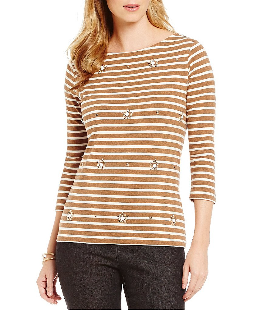 Ruby Rd. Boat Neck Embellished Yarn Dyed Stripe Knit Top