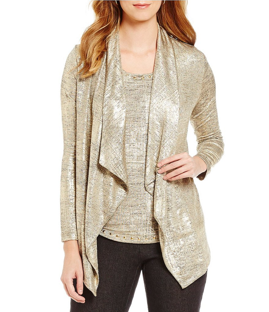 Ruby Rd. Two-fer Brushed Foil Print Heather Jersey Cardigan