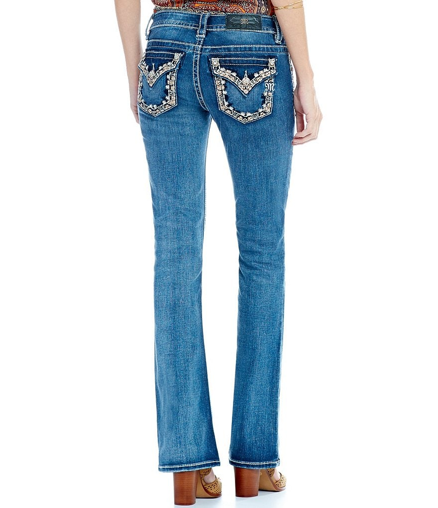 Miss Me Studded Border Pocket Bootcut Jeans