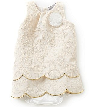 Wendy Bellissimo Baby Girls 12-24 Months Embroidered Floral-Appliqué Twill Dress
