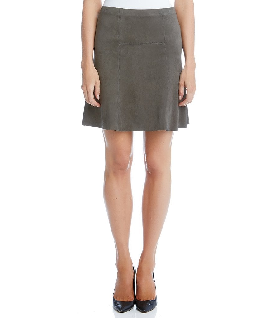 Karen Kane Flared Faux-Suede Skirt