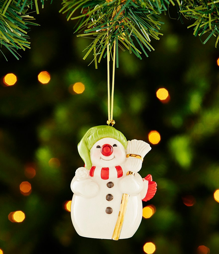 Lenox Snowman with Blinking Nose Porcelain Ornament