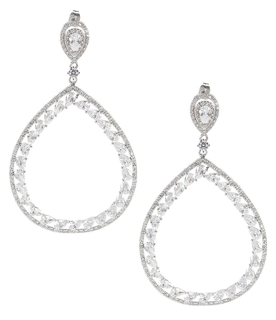 C By Cezanne Cubic Zirconia Openwork Teardrop Earrings