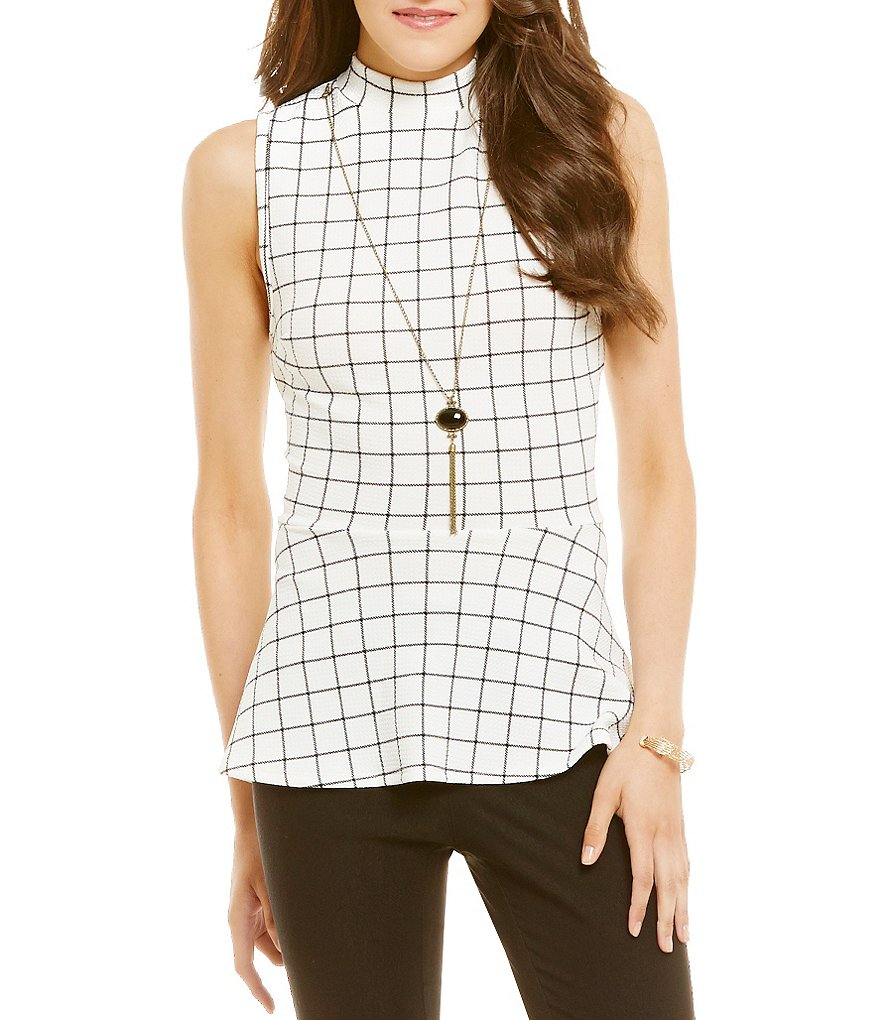 I.N. San Francisco Mock Neck Windowpane-Plaid Peplum Top