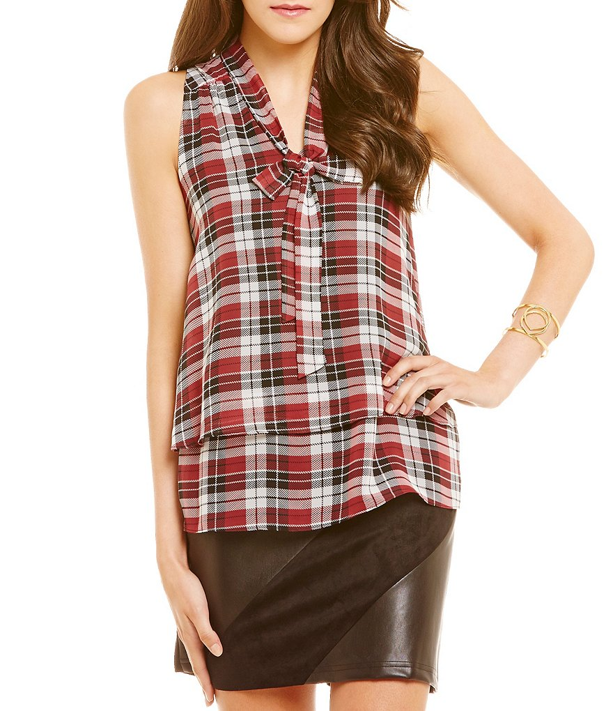 I.N. San Francisco Plaid Tie-Neck Top