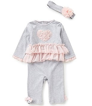 Wendy Bellissimo Baby Girls 3-9 Months Heart-Appliquéd Coverall and Headband Set