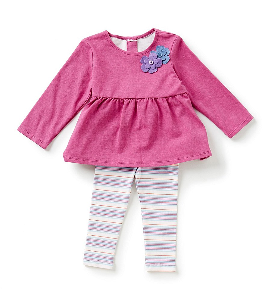 Pippa & Julie Baby Girls 12-24 Months Solid Top & Striped Leggings Set