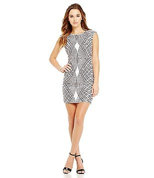 As U Wish Sequin Geometric-Print Sheath Dress