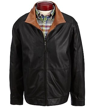 Cremieux Lightweight Leather Bomber Jacket