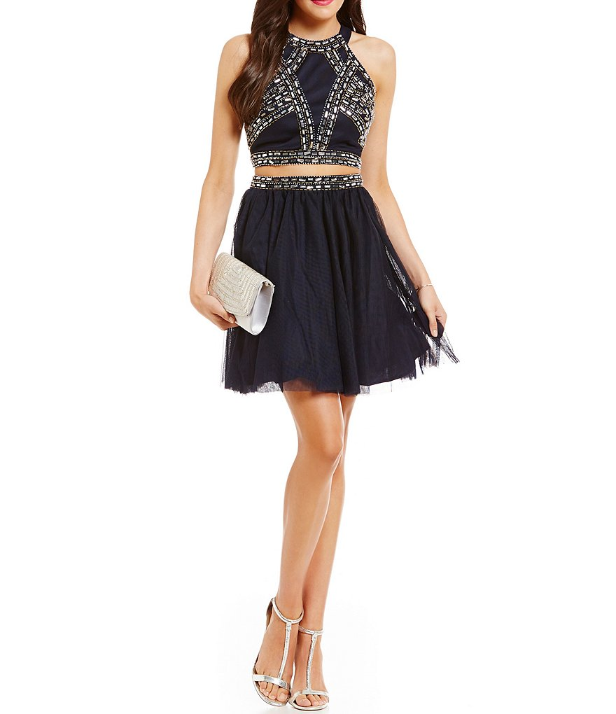 Blondie Nites High Neckline Beaded Two-Piece Dress