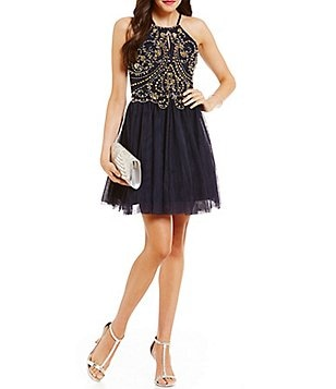 Blondie Nites Keyhole Neckline Beaded Bodice Fit-and-Flare Party Dress