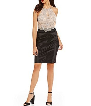 Blondie Nites Keyhole Beaded Bodice Sheath Dress
