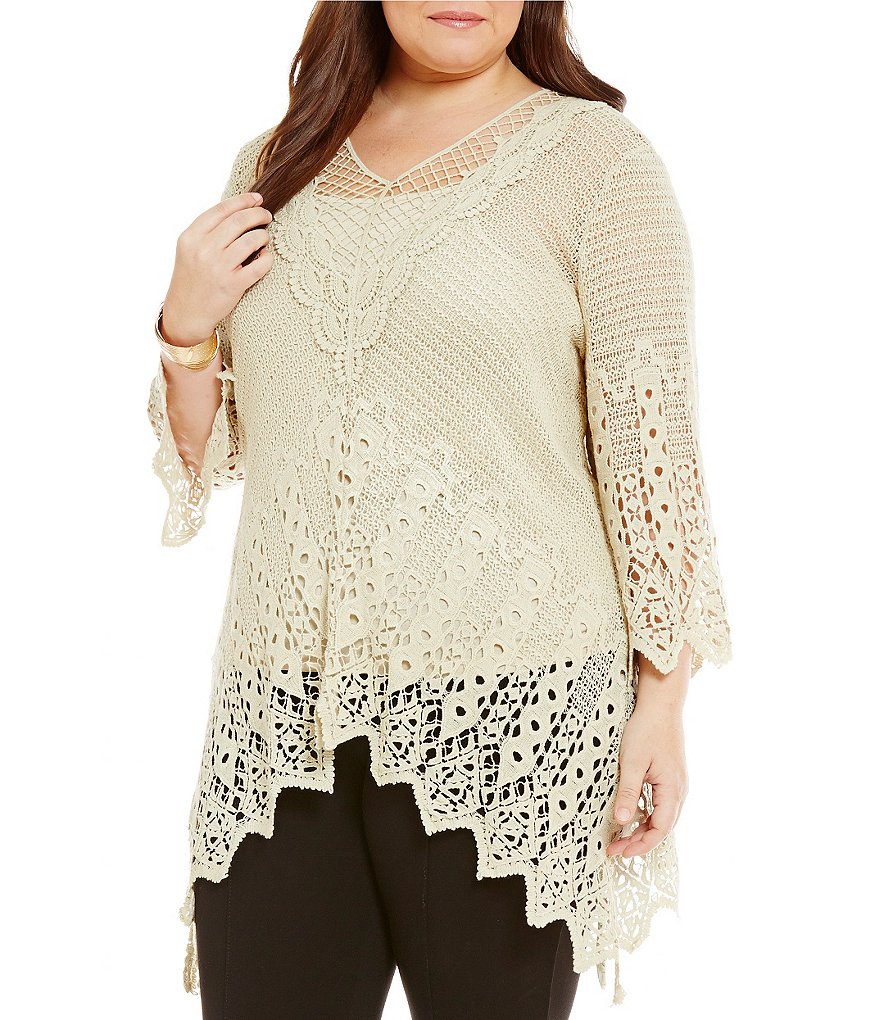 Ali Miles Plus Lace Tunic With Cami