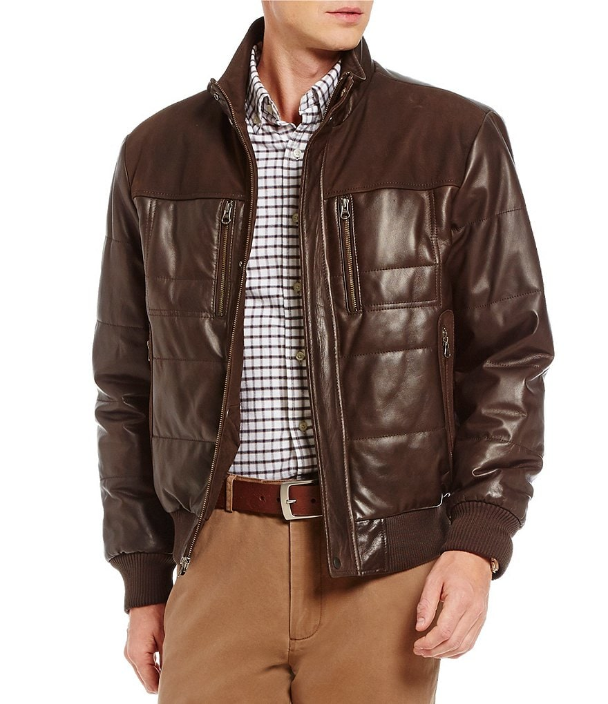 Cremieux Full-Zip Leather Puffer Bomber Jacket