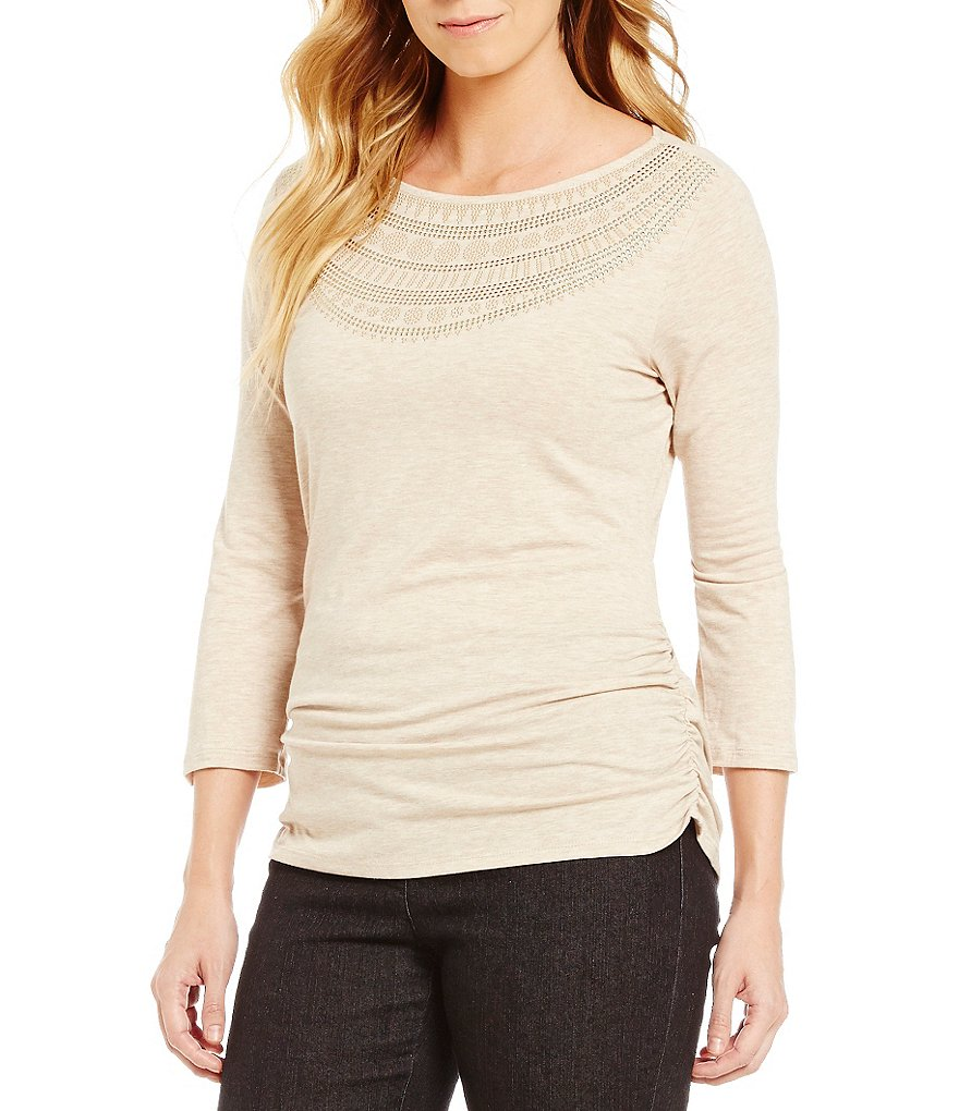 Ruby Rd. Embellished Scoop-Neck Side Ruching Knit Top