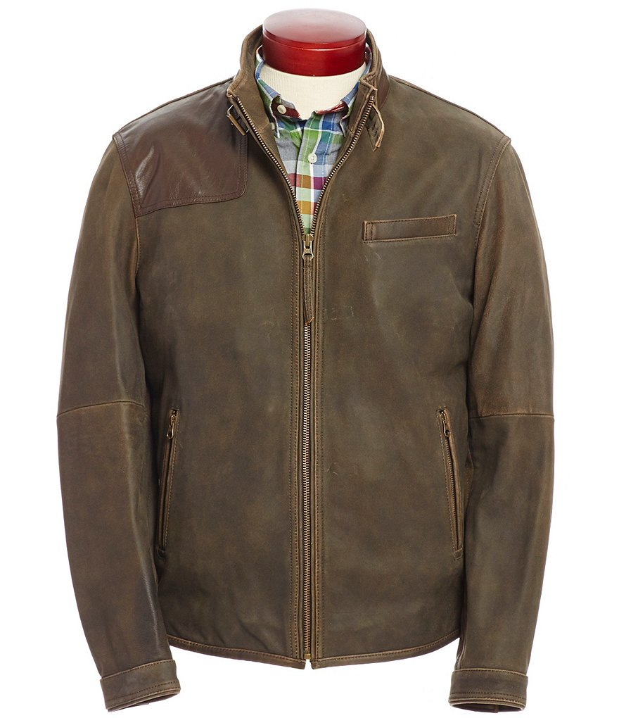 Cremieux Distressed Vintage Lambskin Leather Bomber Jacket