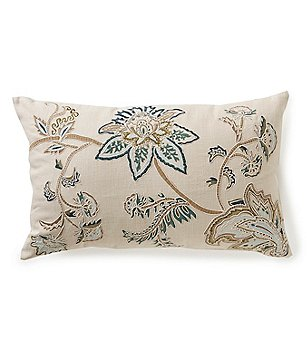 Noble Excellence Floral Jacobean-Embroidered Linen Breakfast Pillow