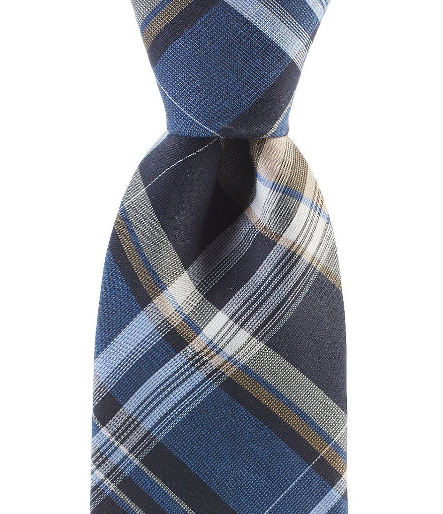 Cremieux Open Cotton Plaid Narrow Tie