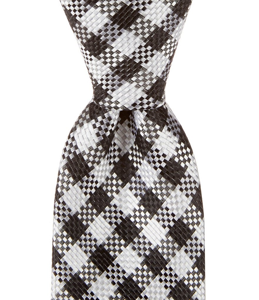Cremieux Checker Gingham Narrow Silk Tie