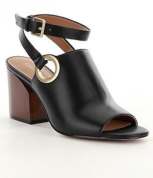 Calvin Klein Adria Leather Grommet Detail Wooden Block Heel Mules