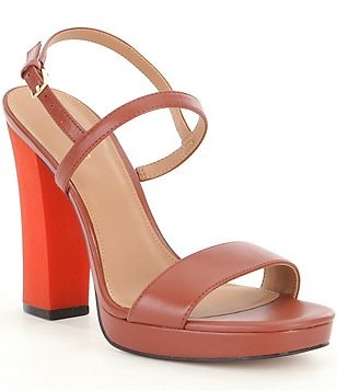 Calvin Klein Bambii Two Toned Banded Block Heel Dress Sandals