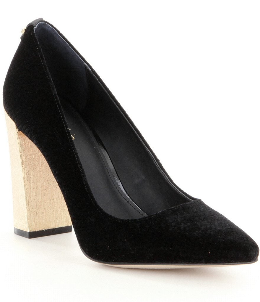 Calvin Klein Neema Velvet Pointed Toe Slip-On Metallic Block Heel Pumps
