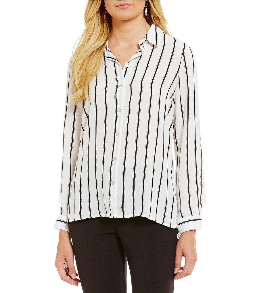 Spense Long Sleeve Stripe Print Button Front Tunic