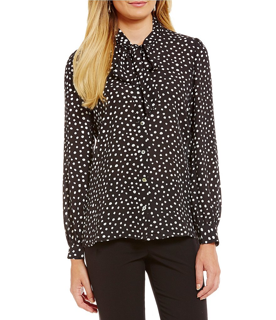 Spense Tie-Neck Button Front Dot Print Woven Top