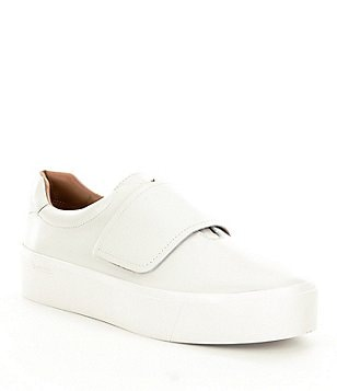 Calvin Klein Jaiden Cow Silk Leather Slip On Velcro Strap Sneakers