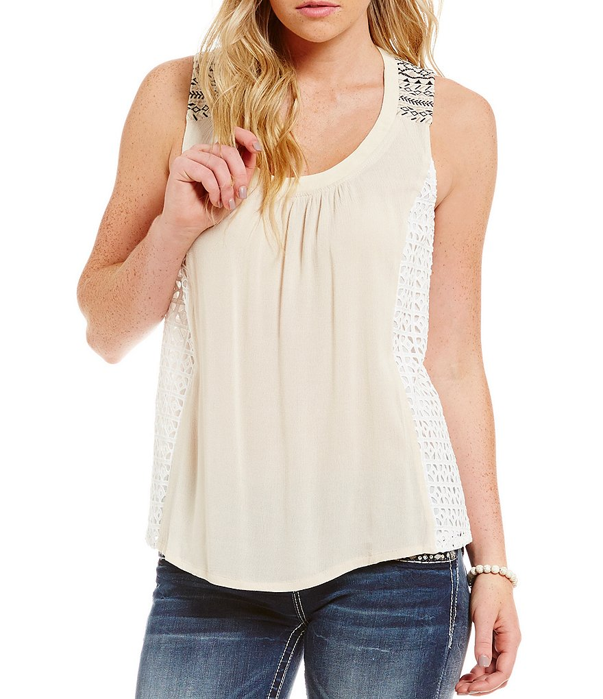 Miss Me Crochet Embroidered Tank Top