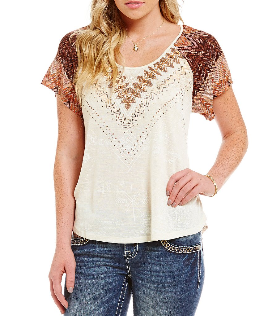 Miss Me Open-Back Embroidered Knit Top