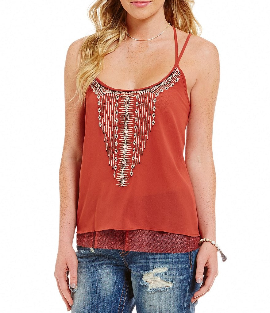 Miss Me Strappy Embroidered Open-Back Tank Top