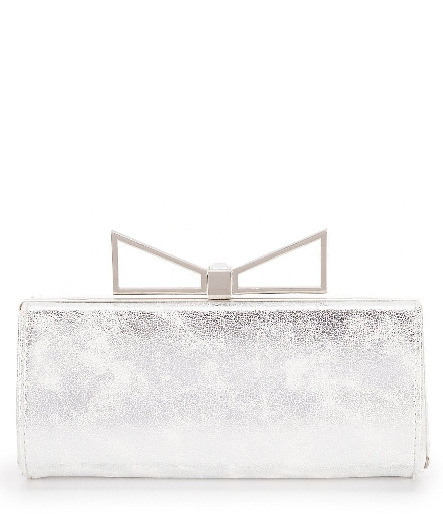 Kate Landry Washed Metallic Bow Frame Clutch