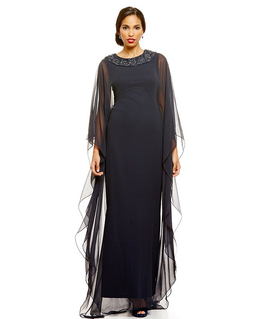 JS Collections Beaded Neck Caftan Sleeve Chiffon Gown