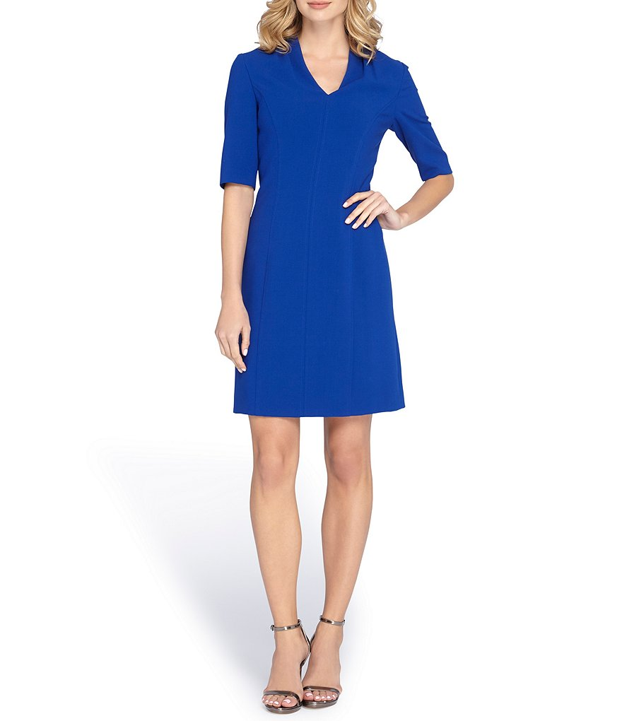 Tahari ASL V Neck Woven Sheath Dress