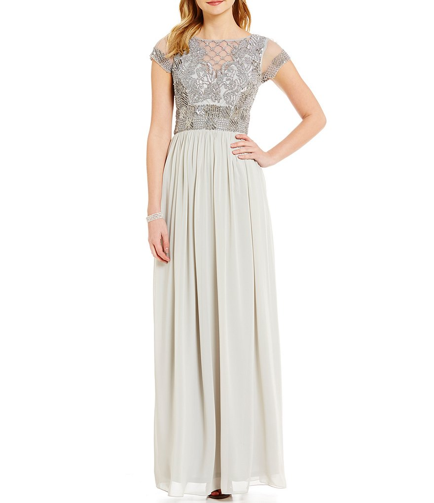 JS Collections Beaded Bodice Short Sleeve Chiffon Gown