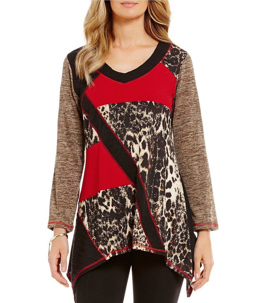 Calessa Colorblocked Animal-Print Sharkbite Tunic