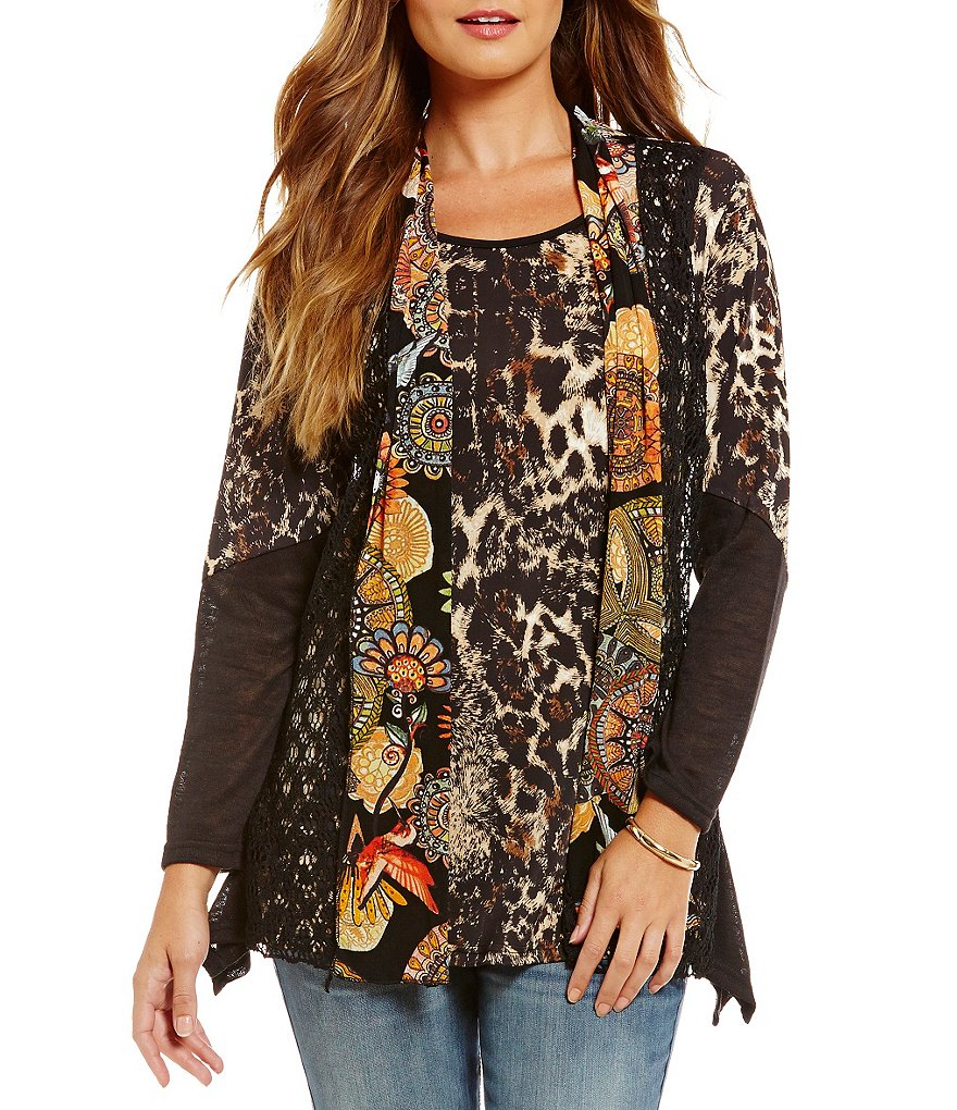 Calessa Floral & Animal-Print Two-Fer Blouse