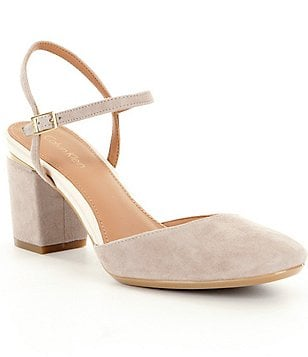Calvin Klein Ciley Suede Almond Toe Block Heel Sandals