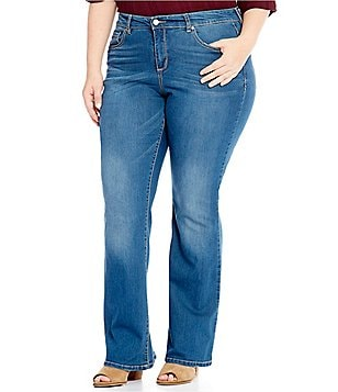 Code Bleu Plus Soho Bootcut Embroidered Back-Pocket Jeans